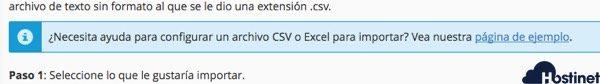 pagina ejemplo importar direcciones de correo electrónico desde cPanel