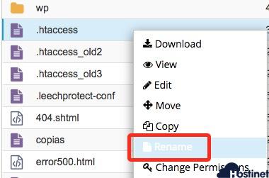 cómo renombrar archivo .htaccess