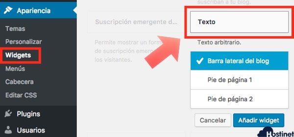 widget texto nativo en wordpress