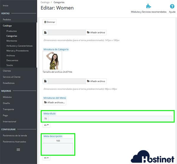 PrestaShop 1.7 - Categorías Modificar Meta Título Meta Descripción