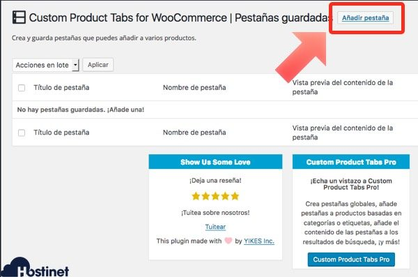 anadir pestana woocommerce - WordPress