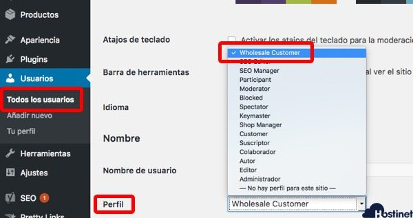 cambiar perfil wholesale WooCommerce