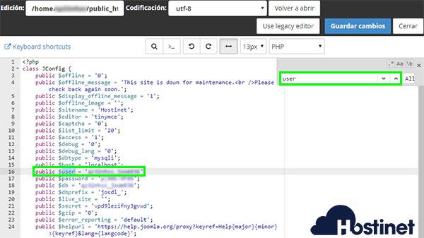 cPanel - Administrador de archivos / Configuration.php búsqueda user