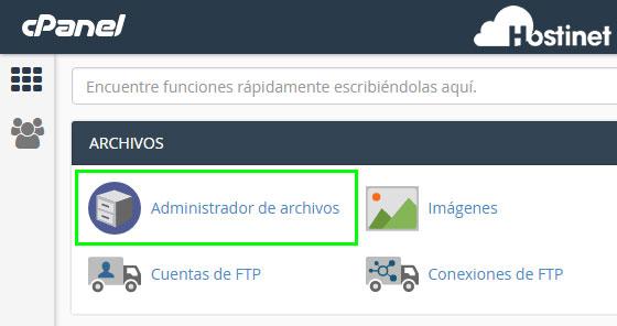 cPanel - Administrador de archivos