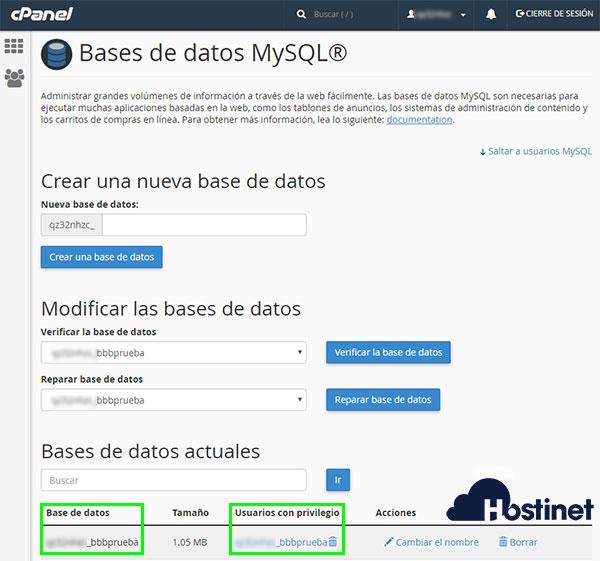cPanel - Bases de datos MyQL - Base de datos y usuario