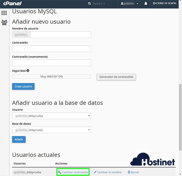 cPanel - Bases de datos MyQL - Usuario Cambiar contraseña
