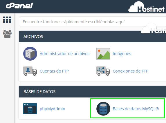 cPanel - Bases de datos MySQL