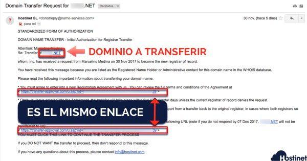 email autorizacion transferencia dominio ICANN