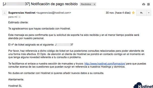 email notificacion pago recibido Hostinet
