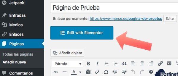 empezar editar pagina elementor WordPress