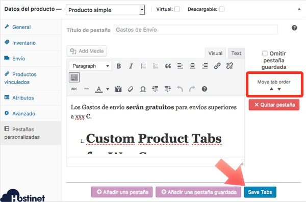 guardar pestana guardada en WooCommerce