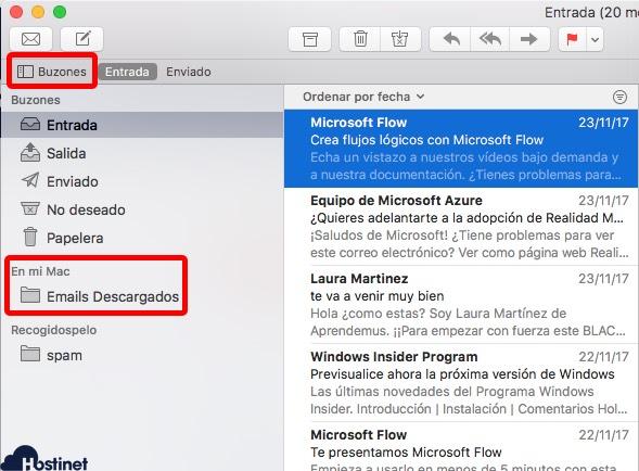 mostrar buzones mail macOS X