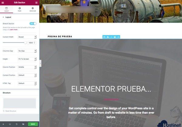 opciones seccion elementor WordPress