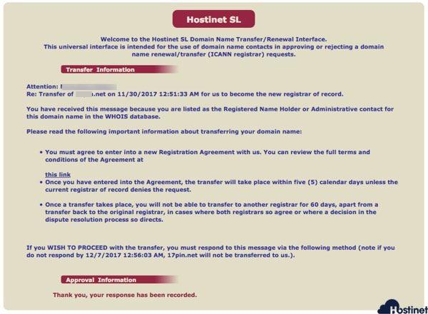 peticion transferencia registrada ICANN