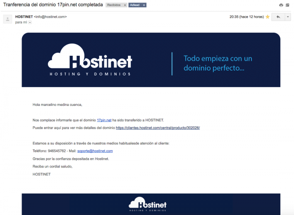 dominio genérico transferido a Hostinet