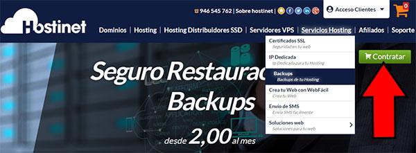 Hostinet Backups Contratar