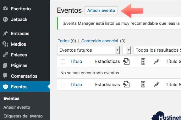 añaadir evento events manager - WordPress