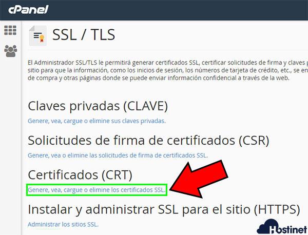 cPanel Certificados CRT