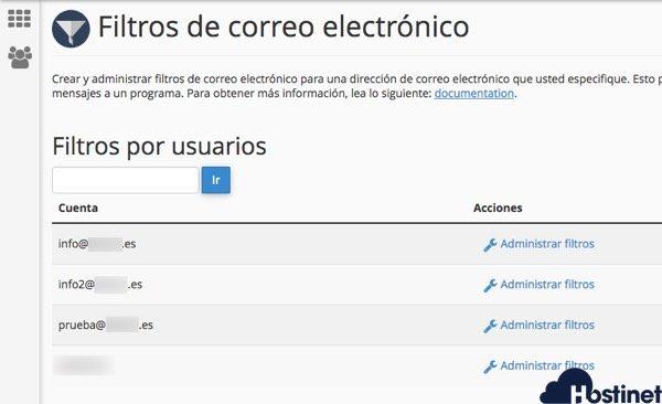 cuentas email filtros cpanel - Hostinet