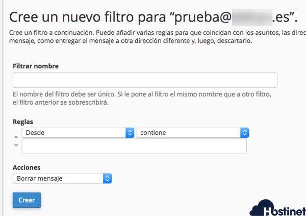 datos filtros email necesarios en cPanel