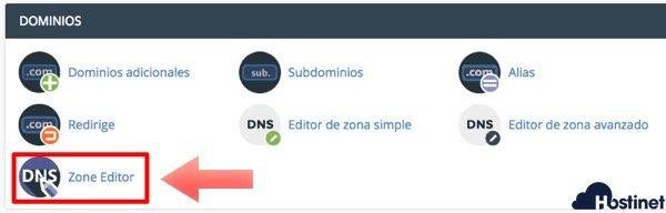 dominios zone editor en cPanel