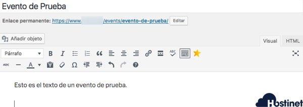 evento prueba events manager - WordPress