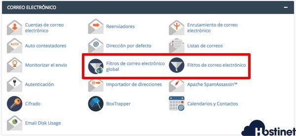 filtros correo electronico cpanel en Hostinet