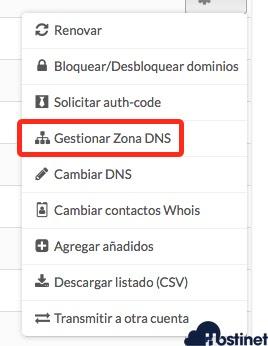 gestion dns dominio generico desde hostinet.com