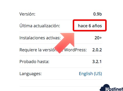 no usar plugins de WordPress si no están actualizados