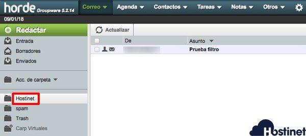 prueba filtro correo electrónico en  hostinet