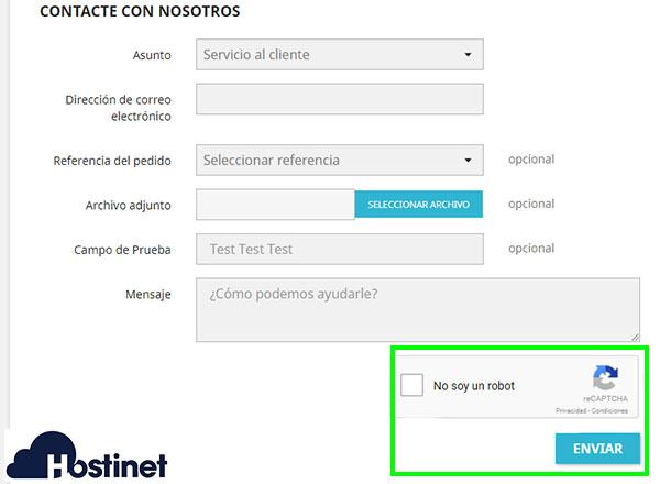 PrestaShop 1.7 Formulario Contacto