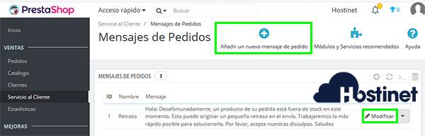 PrestaShop 1.7 Mensajes de pedidos crear o modificar