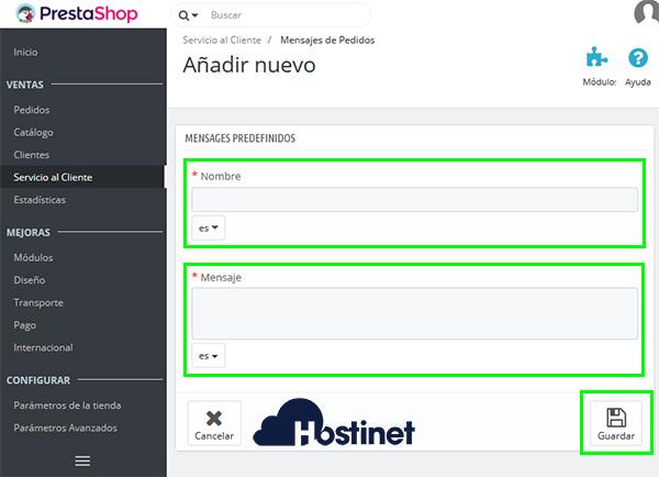 PrestaShop 1.7 Mensajes de pedidos crear nuevo