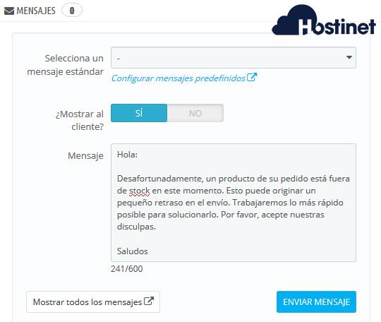 PrestaShop 1.7 Pedidos Mensajes Ampliación