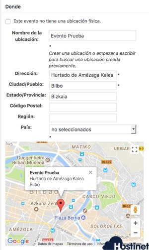 ubicacion mapa events manager - WordPress