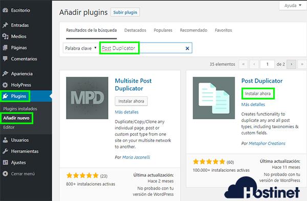WordPress - Plugins Instalar Post Duplicator