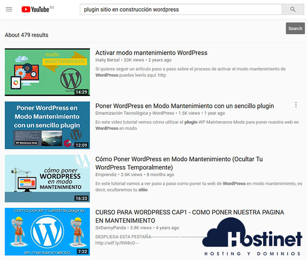 Buscar plugin WordPress en YouTube