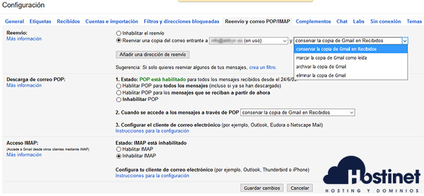 GMail Reenviar Copia