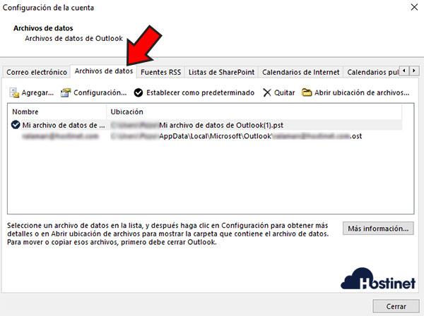 Outlook 2016 Archivos de datos .pst .ost