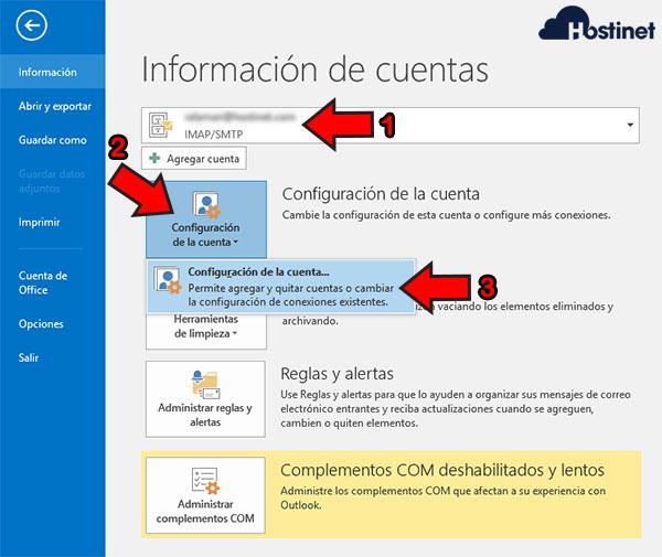 Outlook 2016 Configuración de la Cuenta