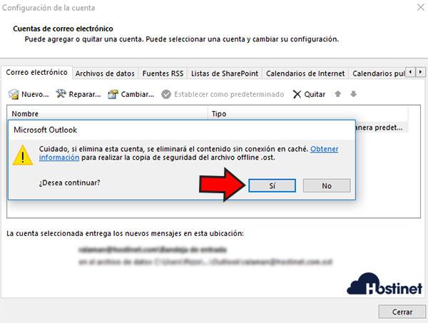 Outlook 2016 Quitar Cuenta Confirmar