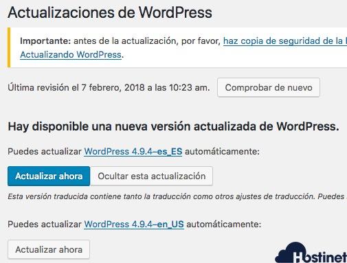 actualiza wordpress 494 tercer aviso WordPress