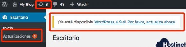 actualiza wordpress 494 cuarto aviso de WordPress