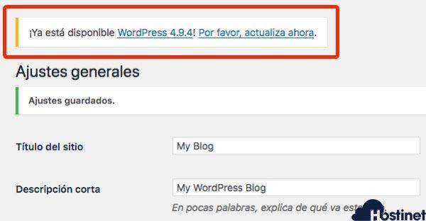 actualiza wordpress 494 aviso de WordPress