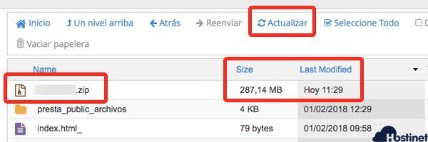 archivos comprimidos public cpanel Administrador archivos