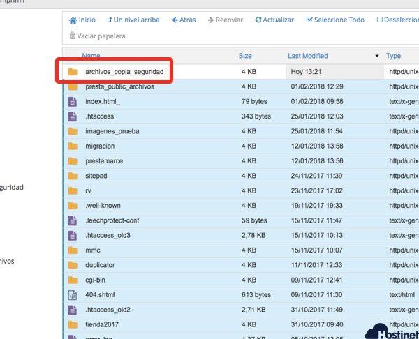 archivos seleccionados menos carpeta Administrador de Archivos