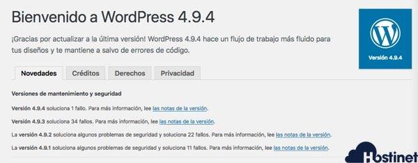 Pantalla bienvenida actualización WordPress 4.9.4