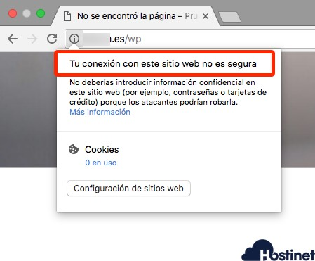 chrome neutro  mensaje sin SSL instalado