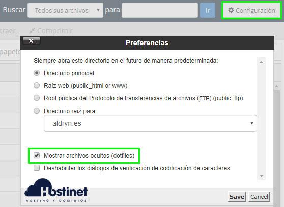 cPanel Administrador archivos configuration mostrar ocultos