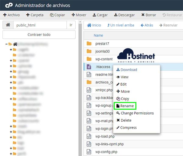 cPanel Administrador archivos htaccess rename